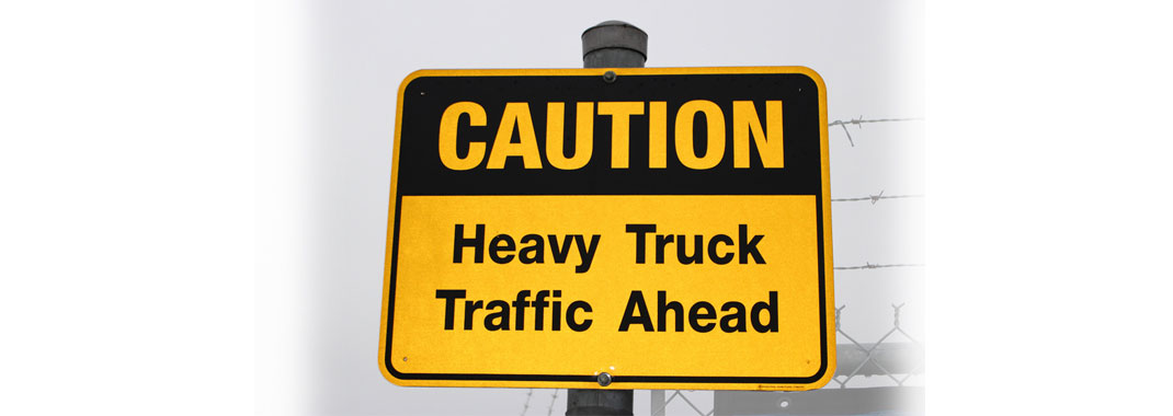 Caution Heavy Traffic Ahead sign