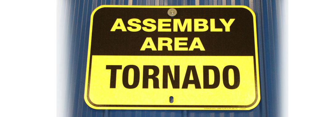 Assembly area tornado sign