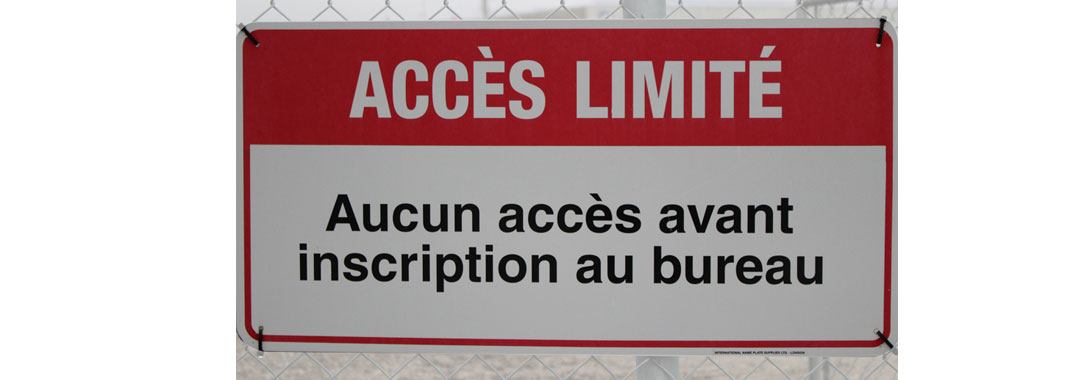 Restricted access in french sign