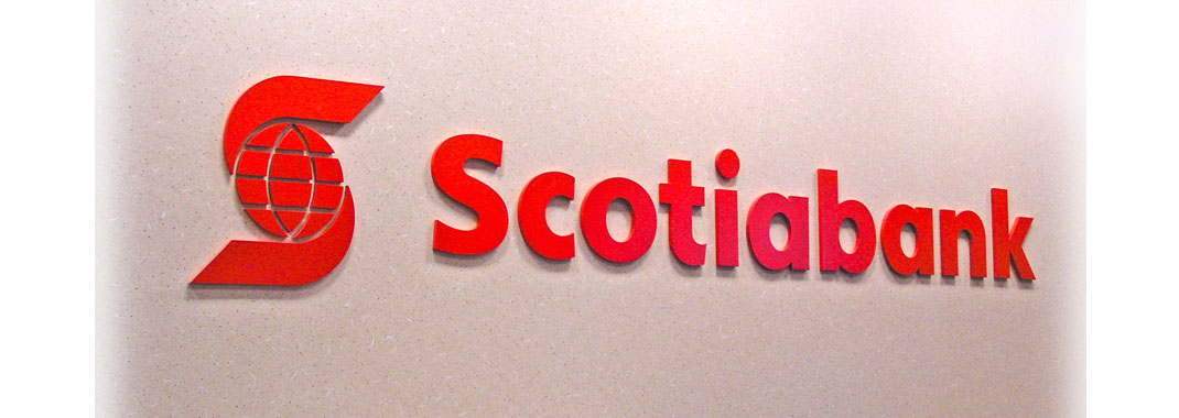 Custom Letters Machined and Painted, Scotiabank