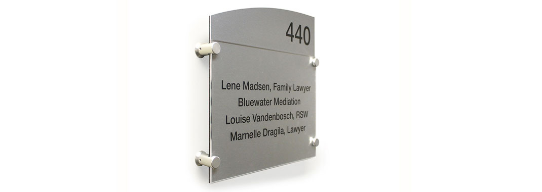 Decorative Hardware Wayfinding System for Law Firm