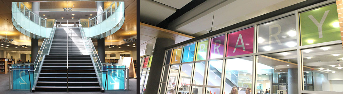 Custom Window Films in London's Central Library installed by INPS Graphics