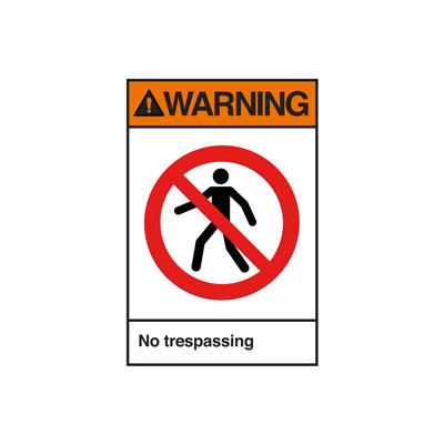 Warning No Trespassing ANSI Sign