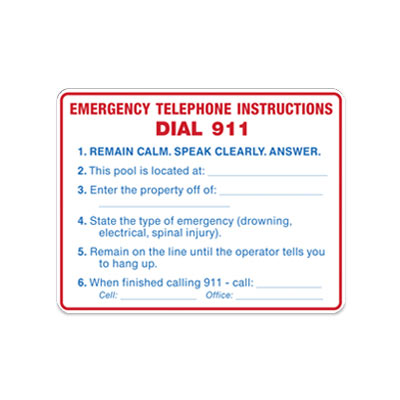 Pool - Emergency Telephone Instructions By-Law Sign