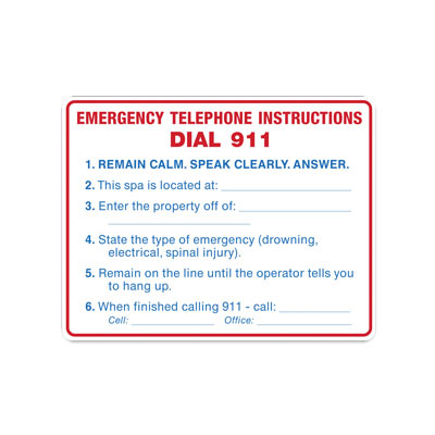 Spa - Emergency Telephone Instructions By-Law Sign