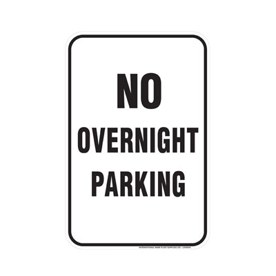 No Overnight Parking Parking Lot Sign
