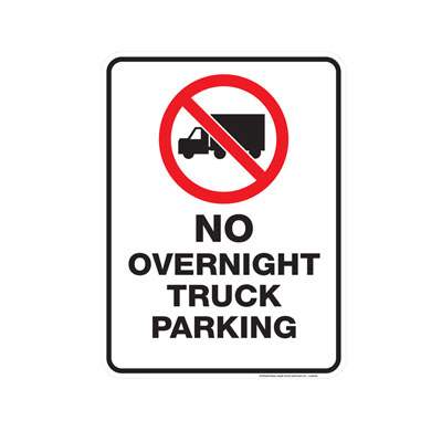 No Overnight Truck Parking Parking Lot Sign