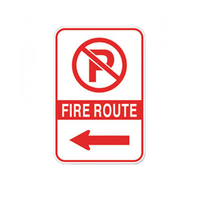 Fire Route Sign W/ Left Arrow Parking Lot Sign