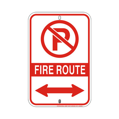 Fire Route Sign W/ Dual Arrow Parking Lot Sign