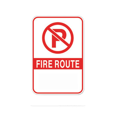 Fire Route Sign W/ No Arrow Parking Lot Sign