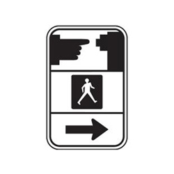 PEDESTRIAN PUSHBUTTON Symbol Sign (With Directional Arrow)