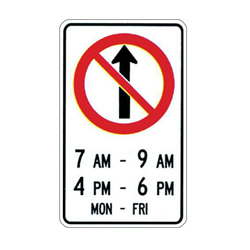 NO STRAIGHT THROUGH Sign (Specified Times)