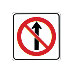 NO STRAIGHT THROUGH Traffic Sign