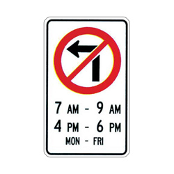NO LEFT TURN Traffic Sign (Specified Times)
