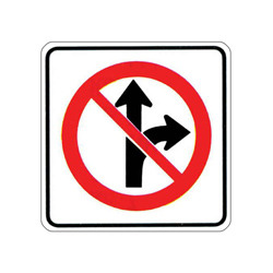 NO STRAIGHT THROUGH OR RIGHT TURN Traffic Sign
