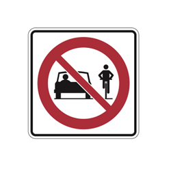 MOTOR VEHICLE PASSING PROHIBITED Traffic Sign