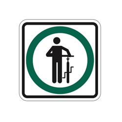 DISMOUNT AND WALK Traffic Sign