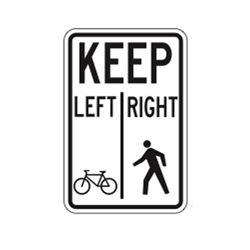 PATHWAY ORGANIZATION SIGN (Ped. Left, Bikes Right) Traffic Sign