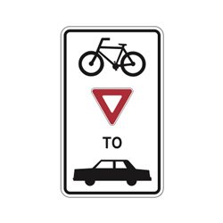 BICYCLES YIELD TO VEHICLES Traffic Sign