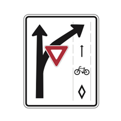 TURNING VEHICLES YIELD TO BICYCLES Traffic Sign