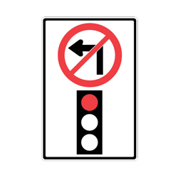 NO LEFT TURN ON RED Traffic Sign