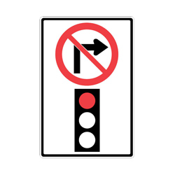 NO RIGHT TURN ON RED Traffic Sign