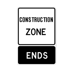 CONSTRUCTION ZONE ENDS Traffic Sign