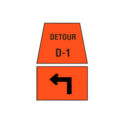 DETOUR MARKER - Left Advance Turn Traffic Sign