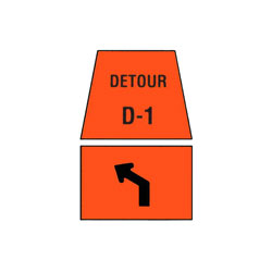 DETOUR MARKER - Left Advance Turn, Channelization Traffic Sign