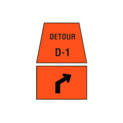 DETOUR MARKER - Right Advance Turn, Channelization Traffic Sign