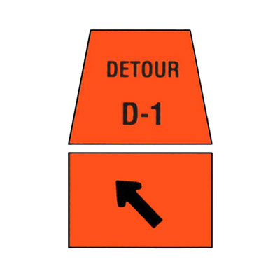 DETOUR MARKER - Left Turn Channelization Traffic Sign