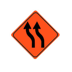 REVERSE CURVE (Left, two arrows) Traffic Sign