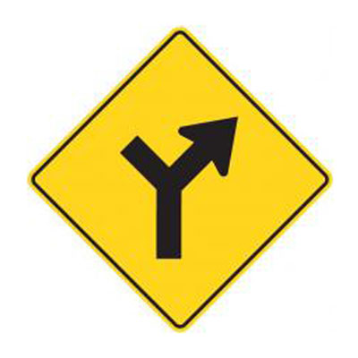 Y-Intersection Sign (Controlled) | WA-15A Traffic Sign ... Y Intersection