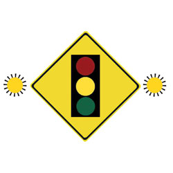 PREPARE TO STOP AT TRAFFIC SIGNALS AHEAD Traffic Sign (With Amber Flashers)