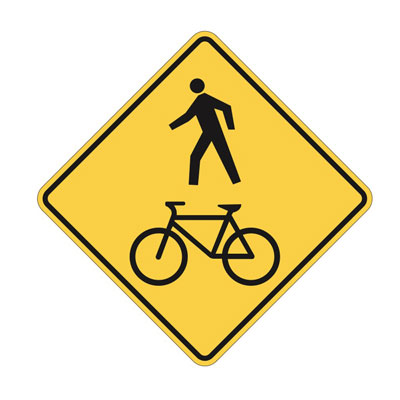 PEDESTRIAN AND BICYCLE CROSSING AHEAD Traffic Sign