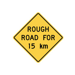 ROUGH ROAD XX KM Traffic Sign