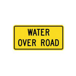 WATER OVER ROAD Tab Traffic Sign