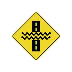 WATER OVER ROAD Traffic Sign