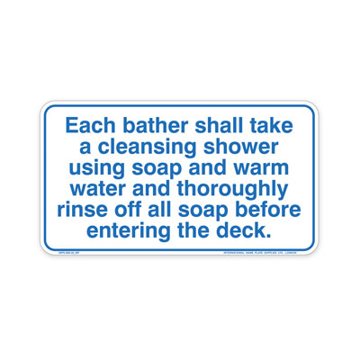 Spa - Shower Before Entering By-Law Sign
