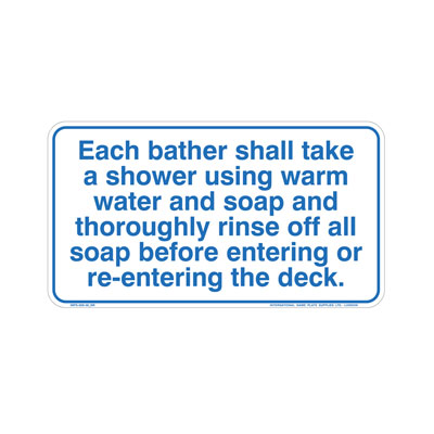 Shower Before Entering Pool By-Law Sign