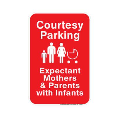 Courtesy Parking, With Infant & Expecting Parking Lot Sign