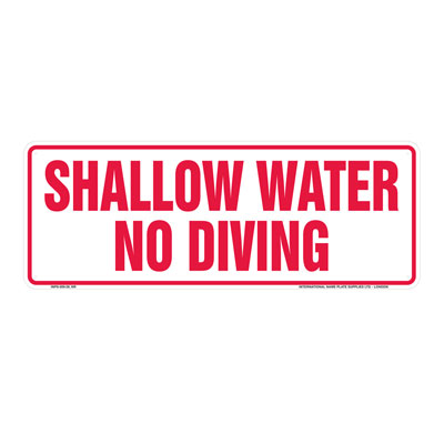 Shallow Water - No Diving By-Law Sign