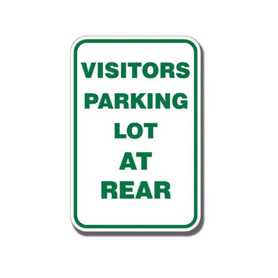 Visitor Parking Lot at Rear Parking Lot Sign