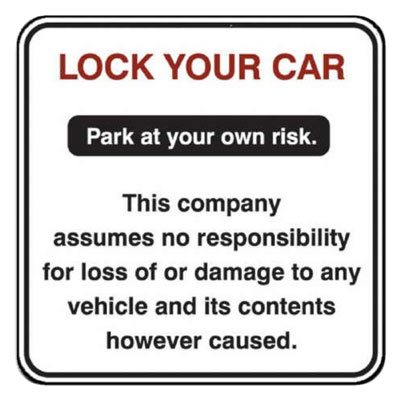 Lock Your Car Parking Lot Sign