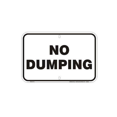 No Dumping Parking Lot Sign