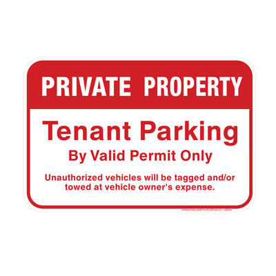 Private Property, Tenant Parking Only Parking Lot Sign
