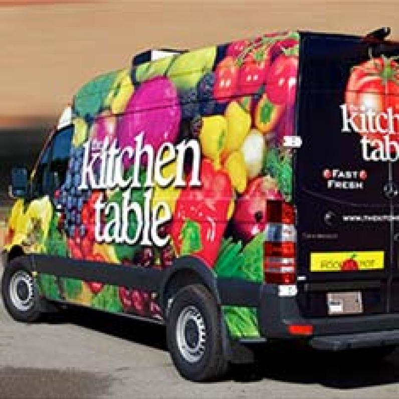 Vehicle Wrap for Kitchen Table