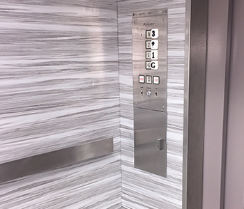 Elevator after Installation of a 3M™ DI-NOC™ Architectural Finish by INPS Graphics