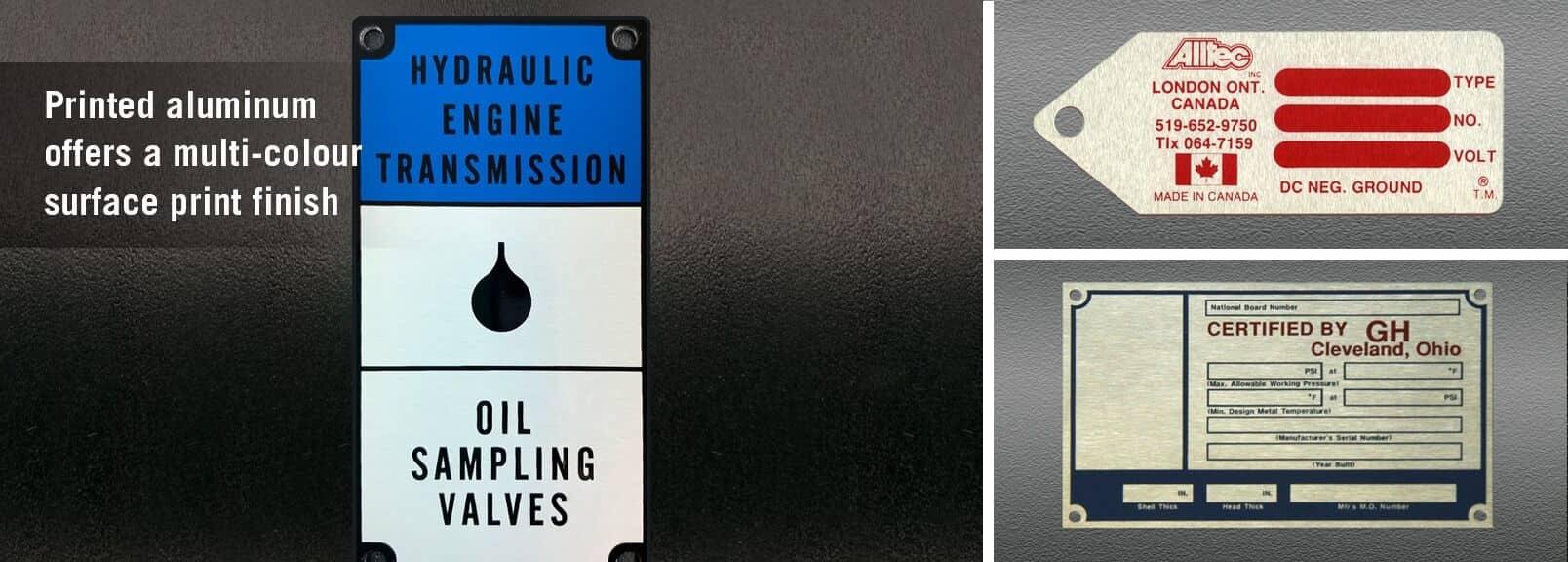 Printed Aluminum Name Plates Printed Aluminum Serial Plates