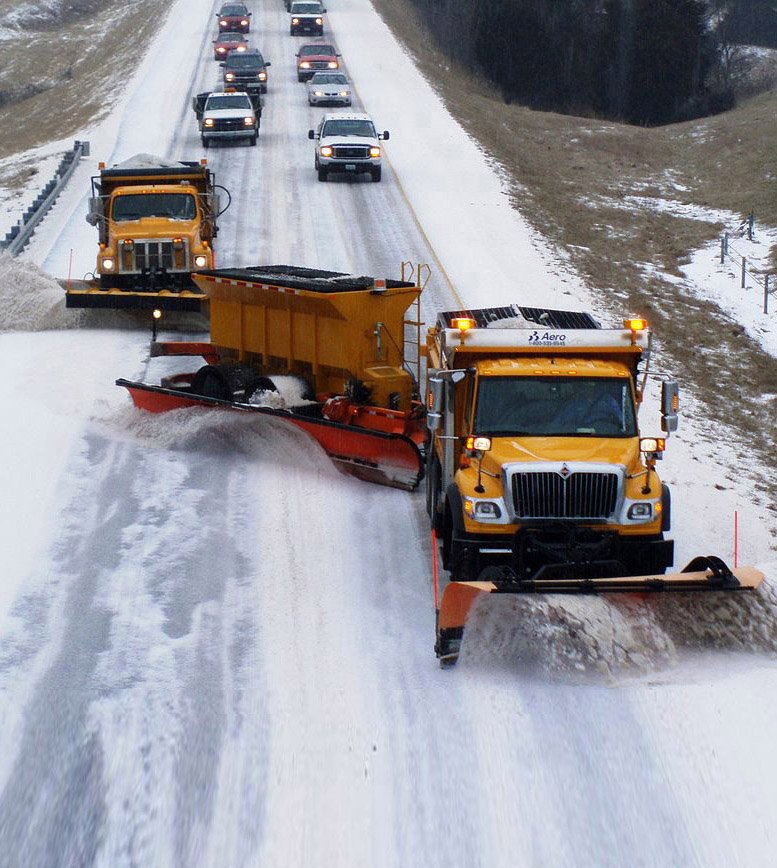 Delineators remain visible when the roadway is snow covered